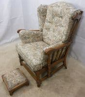 Carved Elm Upholstered Wing Armchair Old Colonial Range by Ercol